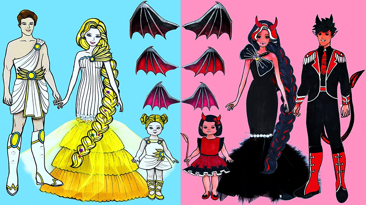 Paper Dolls Dress Up ~ Costumes Angels and Demons Family ~ Dolls Beauty
