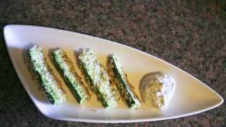 Oven Fried Zucchini And Lemon Caper Dipping Sauce