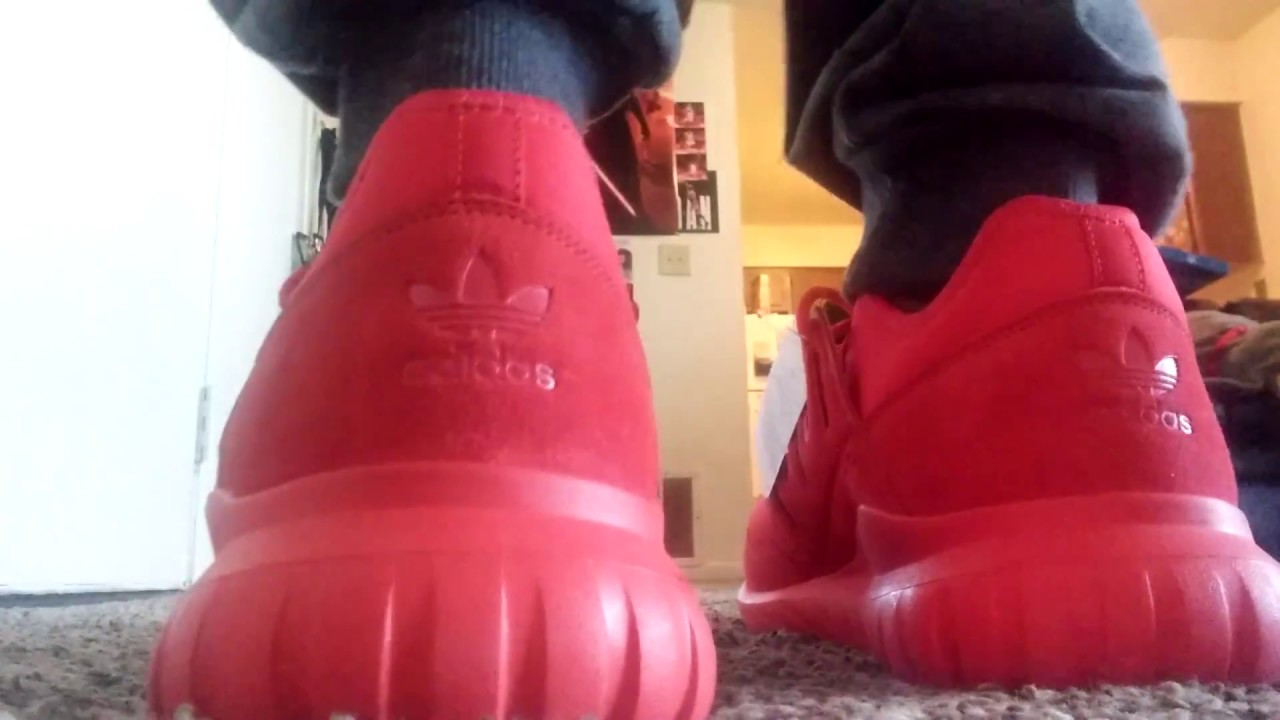 1622f5f8287 Adidas tubular radial red on feet review - YouTube