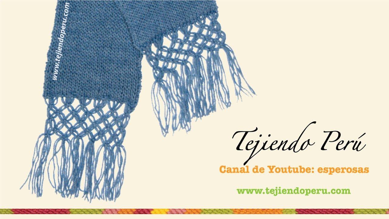 Bufanda en tejido tubular con borde en macramé - YouTube