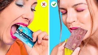 أكلات من الشوكلاتة مقابل الطعام الحقيقي! || حيل وتحديات ممتعة