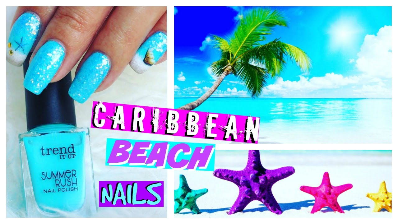 beach nails sommer nageldesign easy water decal summer nail art mermaid glitter withkat. Black Bedroom Furniture Sets. Home Design Ideas