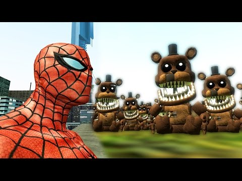 SPIDERMAN vs FREDDLES ARMY! (FNAF) | Gmod Sandbox (Garry's Mod)