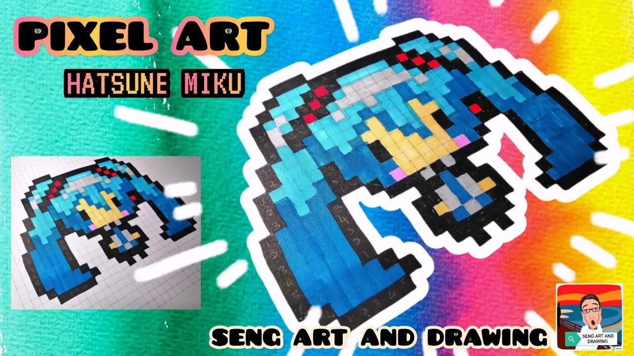 PIXEL ART Hatsune Miku  🌟 初音未来像素艺术 🌟 Seni Piksel Hatsune Miku
