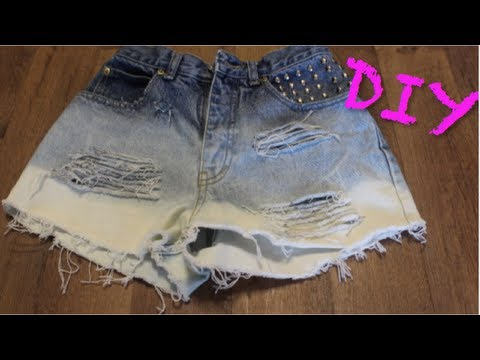 DIY: Ombre Distressed High-Waisted Denim Shorts | CHEAP & EASY ...