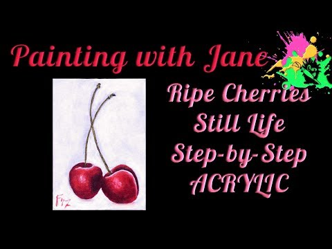 30 Days of Art #8 - Ripe Cherries Still Life Step by Step Acrylic Painting on Canvas for Beginners
