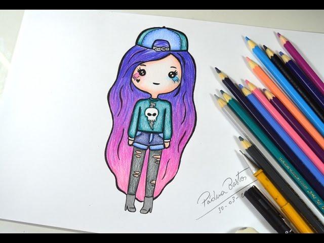 Como desenhar Bonequinha Tumbr #roqueira - passo a passo