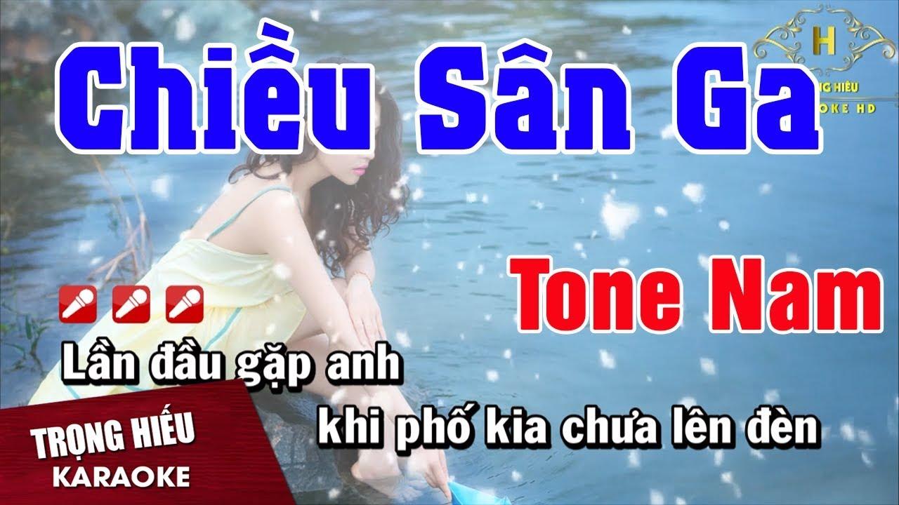 Karaoke Chiều Sân Ga Tone Nam Nhạc Sống | Trọng Hiếu