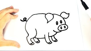 How to Draw a Pig for Kids | Pig Drawing Lesson