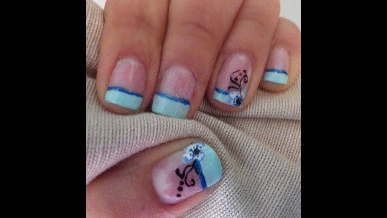 diseo de uas manicura francesa con flor french manicure with flower
