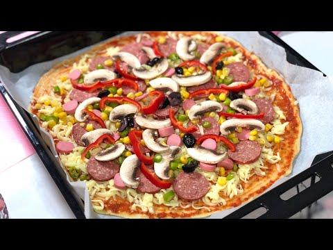 Hamurunu Bekletmeden Mayasız En Kolay Pizza Tarifi-Poğaça Hamuru İle Karışık Pizza/Seval Mutfakta