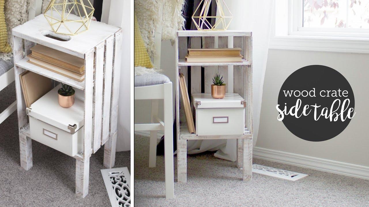 diy wood crate end table or nightstand easy