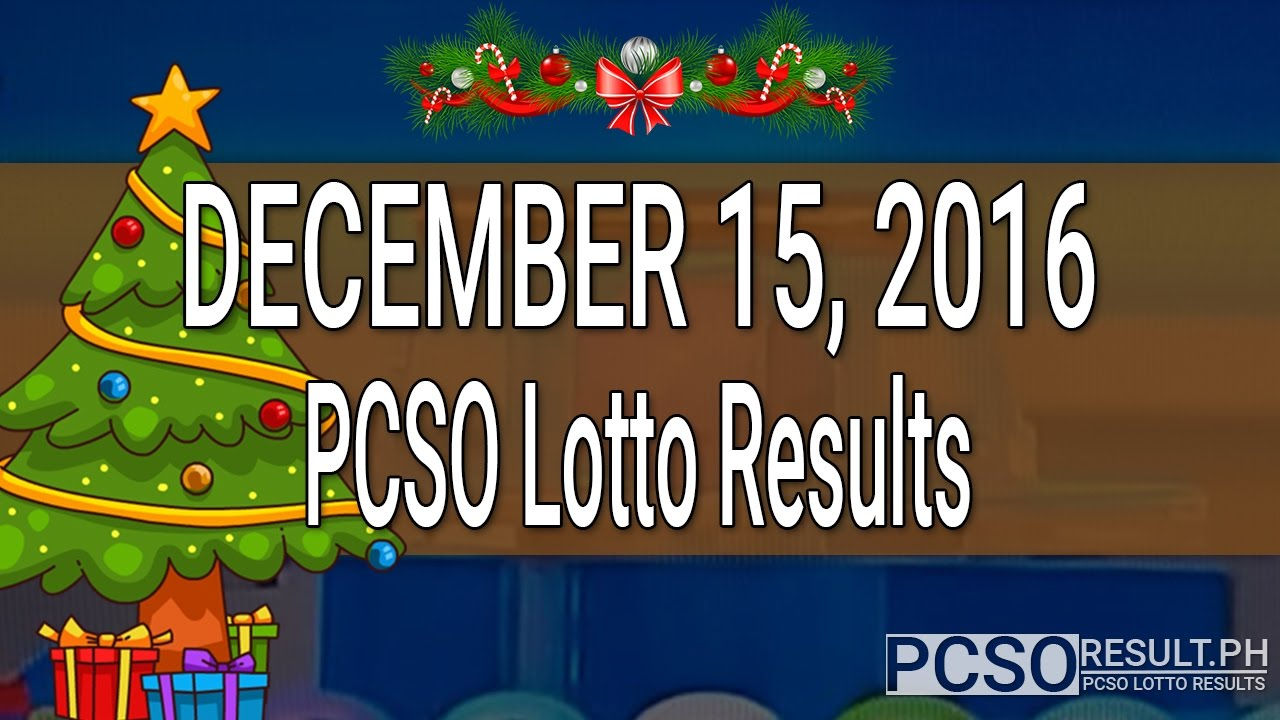 PCSO Lotto Results December 15, 2016 (6/49, 6/42, 6D, Swertres & EZ2) - YouTube