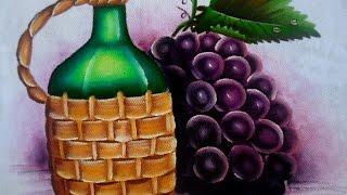 Como pintar Uvas e garrafa de vinho por Arte com Marcos Pedro