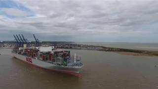 Worlds Largest Container Ship OOCL HONG KONG Leaving Felixstowe-Drone Footage!23/06/2017 thumbnail
