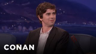 Freddie Highmore Teaches Conan Polite British Swears  - CONAN on TBS