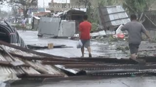 Aftermath of Typhoon 'Ompong' in Tuguegarao, damage and clean-up