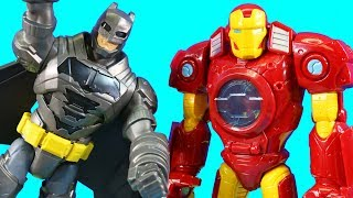 Imaginext Batman Rescues Iron Man Mech Robot And Web Slingin Spider-man ! Superhero Toys