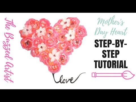 MOTHER'S DAY FLORAL HEART WREATH | Easy Acrylic Painting Tutorial for Beginners