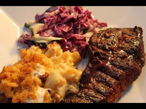 Smoked Country Ribs, Smoked Mac n Cheese and Red Cabbage Cucumber Cole Slaw Recipe