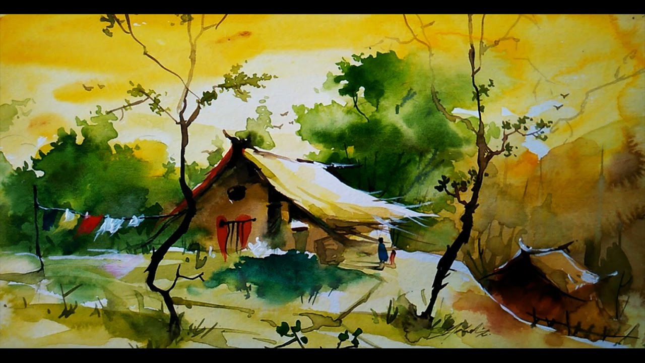 simple water color landscape for beginners by paintlane youtube