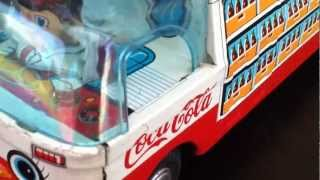 Vintage 1950/60's Coca-cola Friction Soda Car Truck Taiyo Japan Very Rare! Moving Driver!