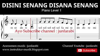 not balok disini senang disana senang - tutorial piano grade 1 - notasi lagu anak - doremi solmisasi