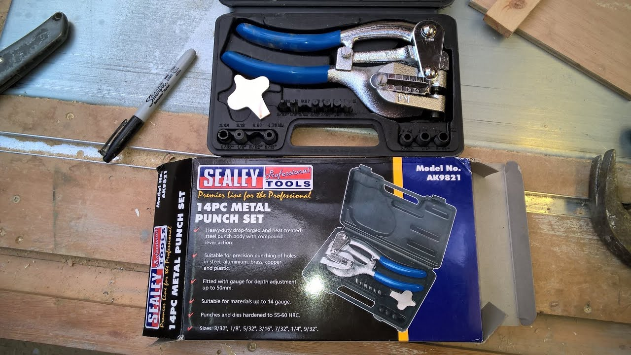 Sealey AK9821 Metal Punch Set, cutting holes & slots in 14 gauge steel to  make adjustable brackets