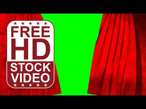 FREE HD video backgrounds – red curtains open on green screen 3D animation