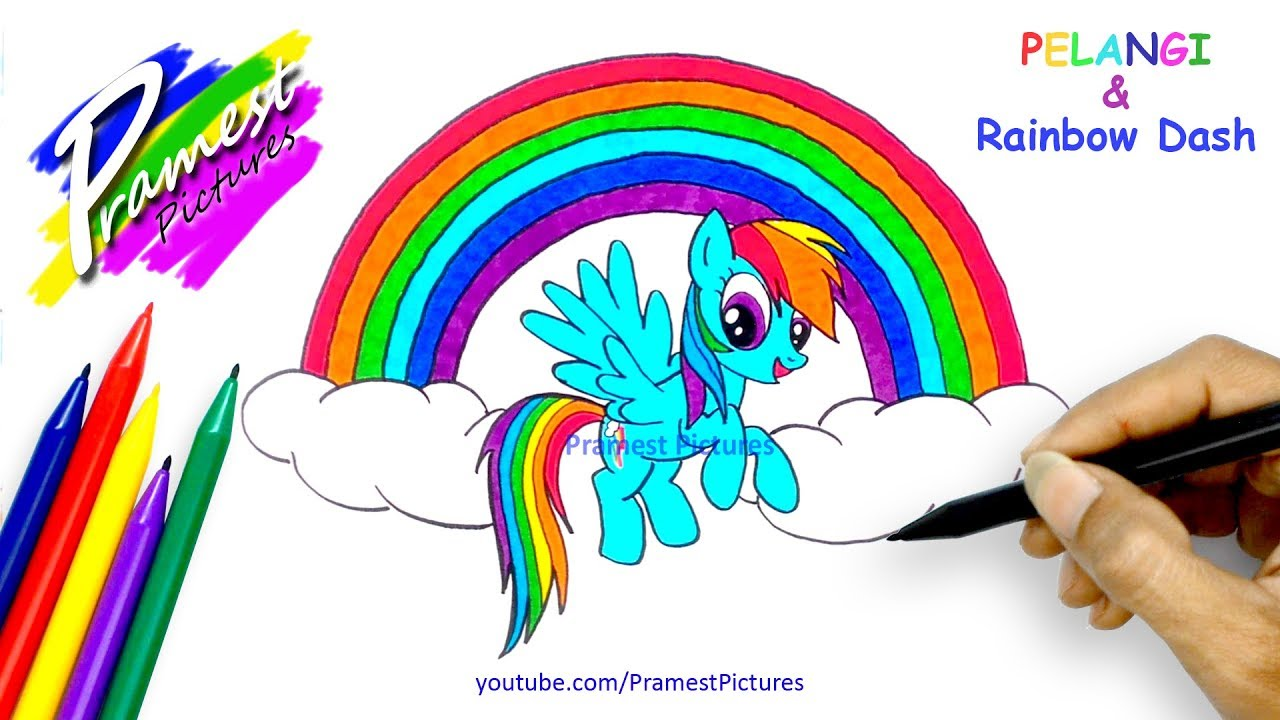 Rainbow Dash Pelangi Menggambar Dan Mewarnai Gambar My Little Pony Youtube