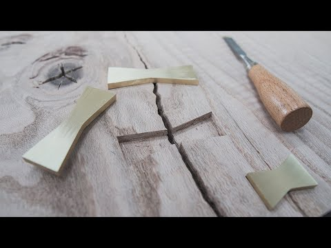 5 EASY Steps to Inlay BRASS BOWTIE KEY into WOOD - ASMR
