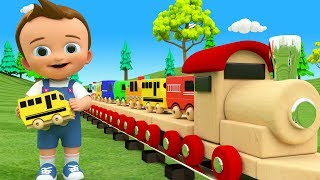 Little Baby Fun Play Learning Street Vehicles Names for Children with Wooden Toy Train 3D Kids Edu