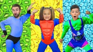 Sasha y Max como superhéroes y la misión de una alimentación saludable