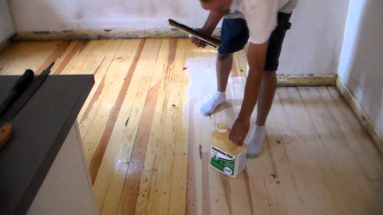 Waterbase Seal Coat On A Distressed Wood Floor Youtube