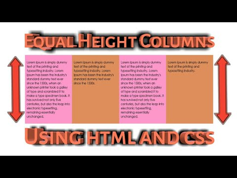 Equal Height Columns Using Html And Css