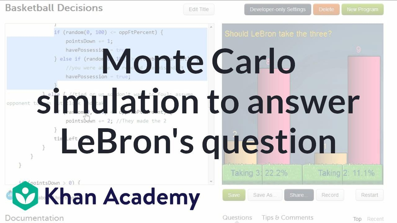 Monte Carlo simulation to answer LeBron's question (video