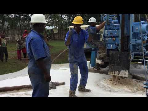 Water at First Well in Ethiopia with Lifewater Drill Rig