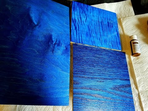Using Wood Dyes On Maple and Oak - Blue Dye - Blue Wood Stain