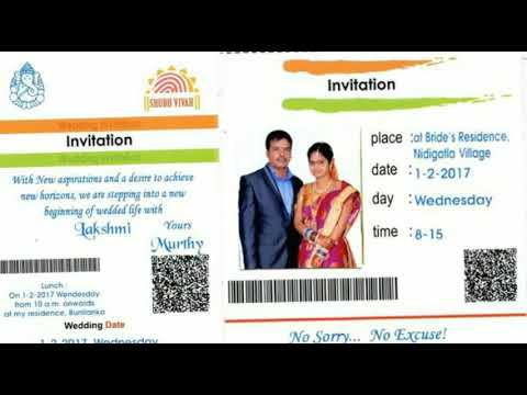 Wedding Card in Aadhar Card Format YouTube