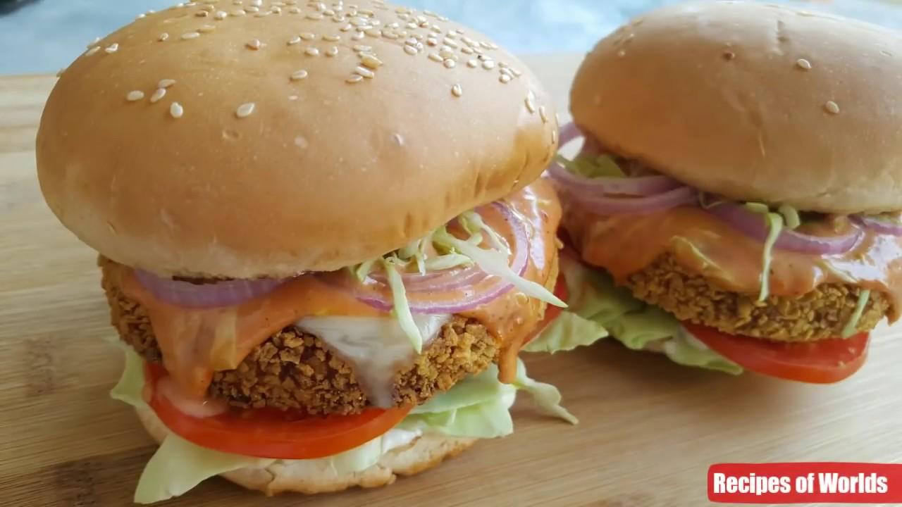 Crispy Chicken Burger Recipe Homemade Chicken Burger