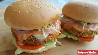 Crispy Chicken Burger Recipe,Homemade Chicken Burger