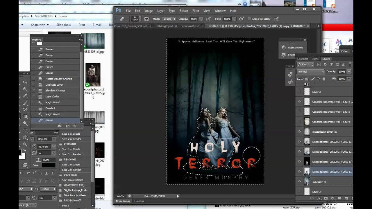 How To Make A Book Cover In Photo : How to make a ghost story horror book cover in photoshop