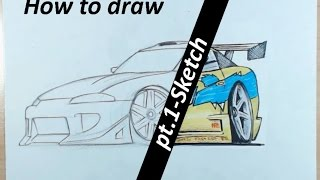 How to draw a cartoon car: Brian´s 1995 Mitsubishi Eclipse [PT.1-Sketch]