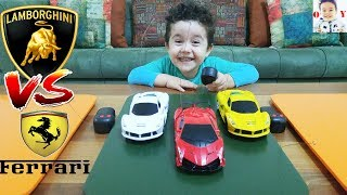 FERRARİ LAMBORGHİNİ UZAKTAN KUMANDALI ARABALARLA YARIŞTIK|Learn Colours with Cars.