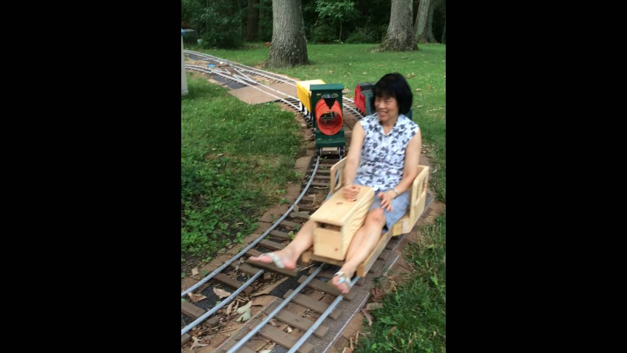 ride on garden railroad for adults and children - YouTube