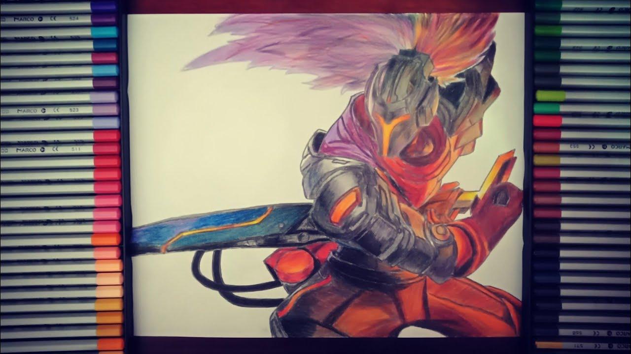 Drawing Project: Yasuo Skin – vẽ Siêu Phẩm Yasuo bằng màu chì Marco