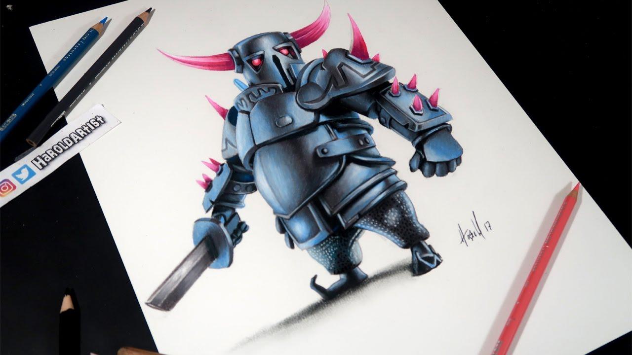 Dibujando Al Mago Eléctrico: Como Dibujo Al PEKKA De Clash Royale Y Clash Of Clans