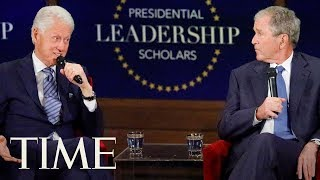 Speaking together at the 2017 graduation ceremony for presidential leadership scholars program, former presidents bill clinton and george w. bush took wh...