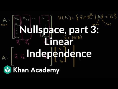 Relation Of Null Space To Linear Independence Of Columns