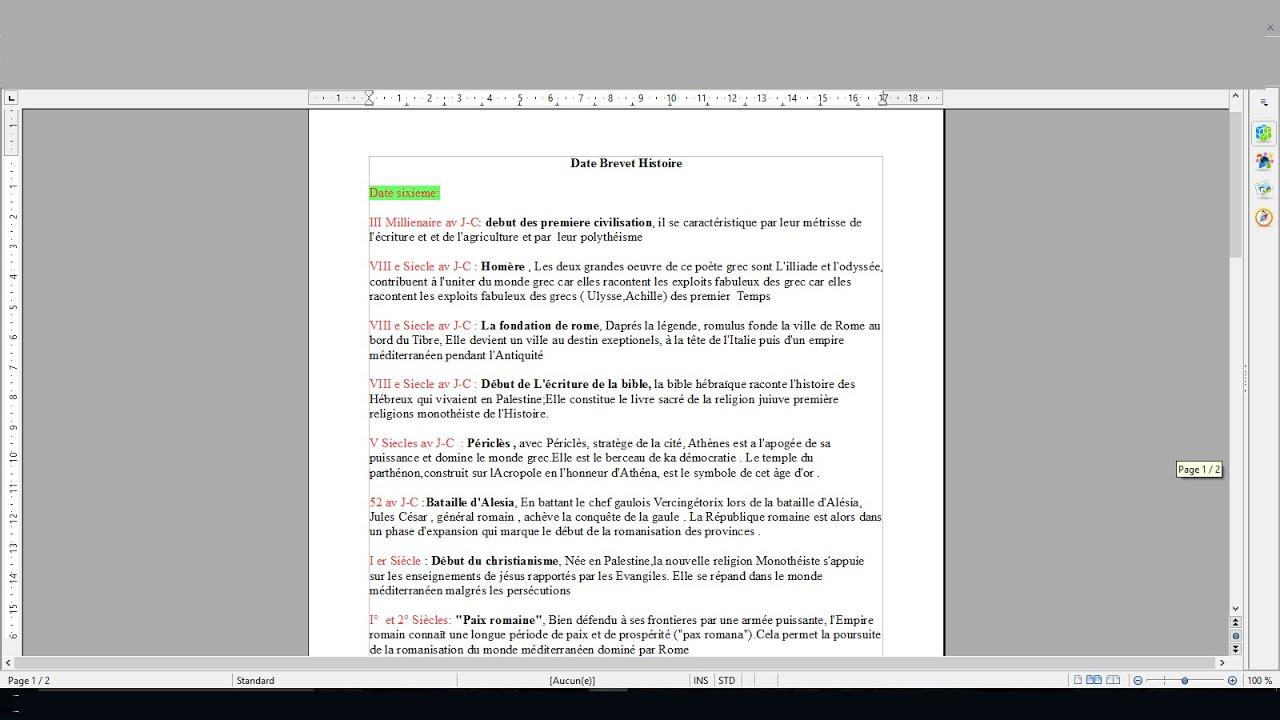 comment faire une fiche de revision sur les date brevet